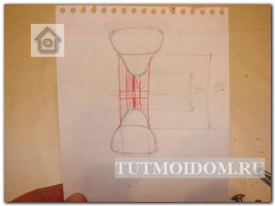 Сделали необходимые замеры штангелем и нарисовали схемку